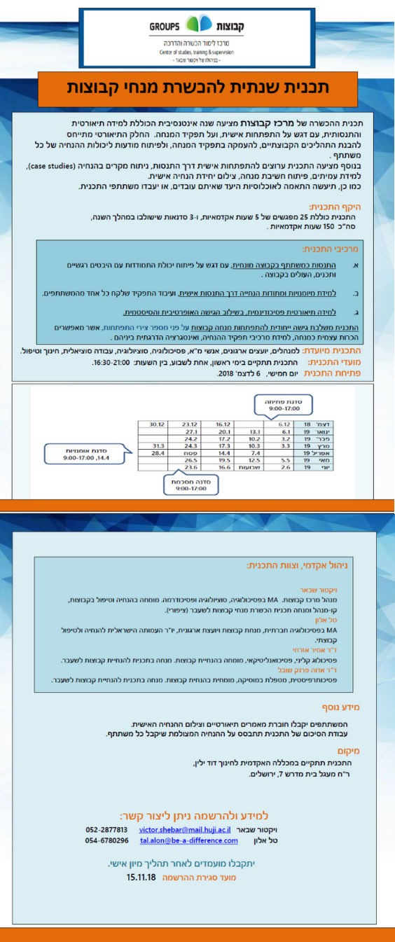 תכנית להנחיית קבוצות בירושלים