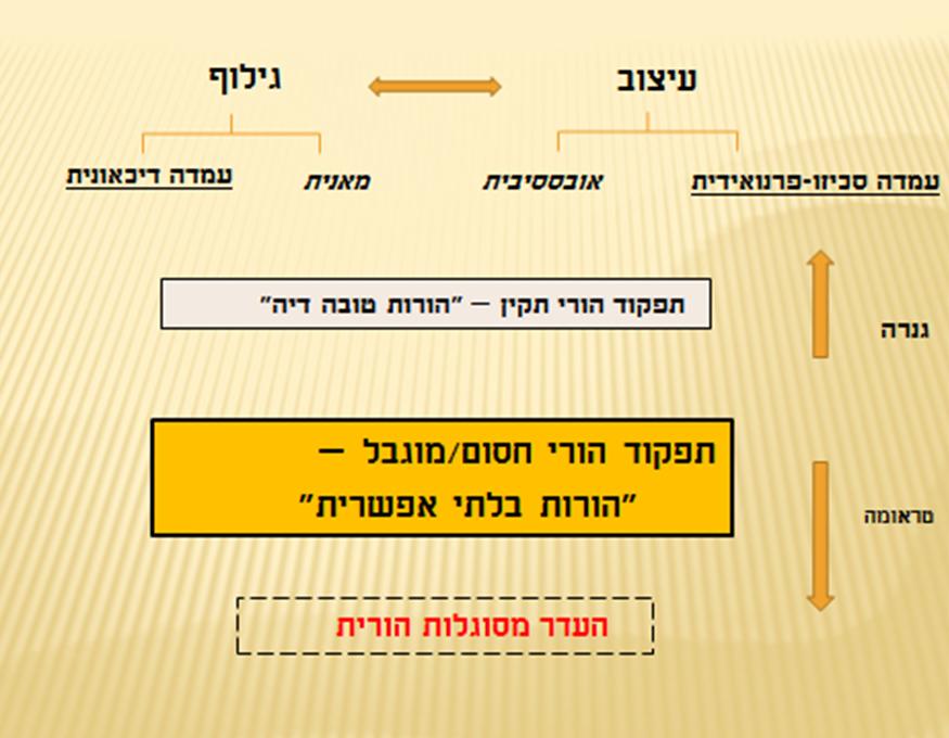 תרשים 1 התנועה בין העמדות ורמות התפקוד ההורי
