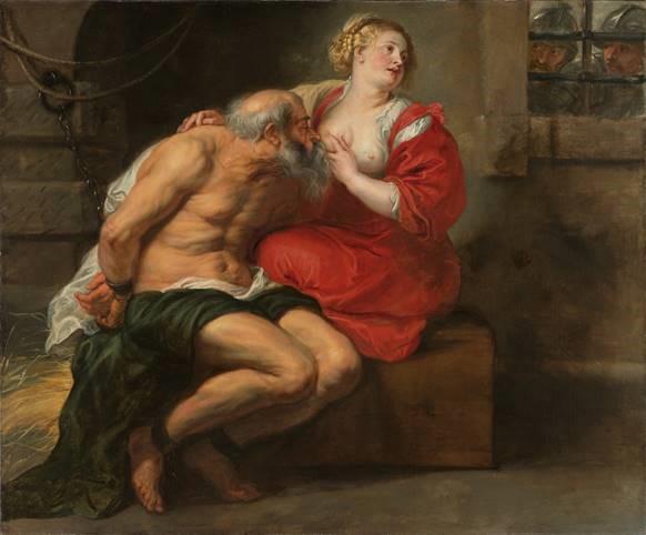 בציור נראה אסיר מבוגר יונק מבחורה